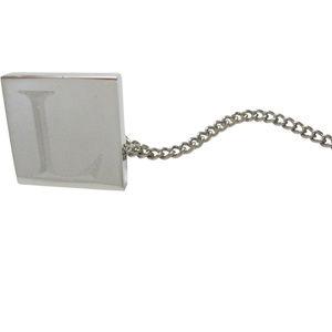 Letter L Etched Monogram Pendant Tie Tack